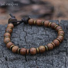 Mala Bracelet, Mens, Beaded Leather, Yoga, Wood, Horn, Wooden, Surfer, Prayer Style, Brown, Surf, Natural, Boho, Man, Masculine, Handmade