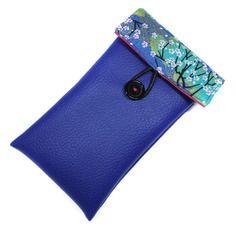 Housse iphone 6 simili cuir bleu roi tissu japonais