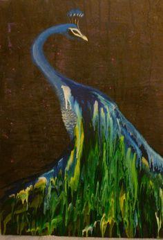 Peacock melted crayon art! @Karishma Banerji Banerji Banerji Amin