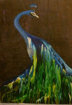 Peacock melted crayon art!
