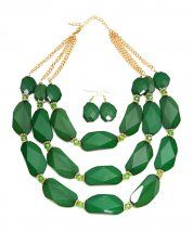 Necklace multi-line Green with earrings
