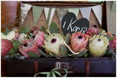 Vintage Protea Wedding at Kronenburg by Bernard Bravenboer Protea Wedding, Floral Wedding, Wedding Bouquets, Wedding Flowers, Table Flower Arrangements, Wedding Flower Arrangements, Table Flowers, Shed Wedding, Our Wedding