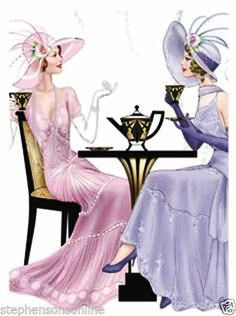 Notebook Art Deco Ladies Having High Tea Lined Hard Back Wiro Bound for sale online Art Deco Illustration, Art Deco Fashion, Vintage Fashion, Fashion Design, Vintage Art, Vintage Ladies, Vintage Roses, 20s Mode, Art Nouveau