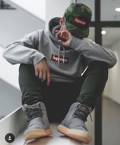 via Intro-Fashionstore Presents Hype on Level Supreme New York Bogo Cap and Hoodie Kith Pants and Adidas x Yeezy Boost 750 Urban Fashion, High Fashion, Mens Fashion, Mode Streetwear, Streetwear Fashion, Supreme Cap, Supreme Yeezy, Supreme Hoodie, Bape