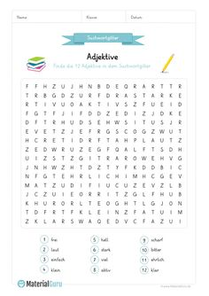 A free worksheet on adjectives, on which the pupils 12 adjectives . - A free worksheet on the subject of adjectives, on which the students should find 12 adjectives in a - Cycle 2, German Language Learning, Learn German, German Words, Kids Reading, Creative Kids, Family History, Word Puzzles, Kids And Parenting