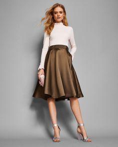 Frill cuff dress - Khaki | Dresses | Ted Baker UK