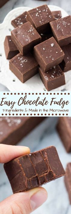 This easy fudge recipe makes smooth, creamy, delicious chocolate fudge every time. Only uses 3 ingredients. Make it in the microwave or on the stove. Easy Chocolate Fudge, Easy Fudge, Delicious Chocolate, Chocolate Desserts, Chocolate Tarts, Fudge Recipes, Candy Recipes, Dessert Recipes, Gf Recipes