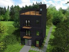 Contemporary House Plan with Scenic Mezzanine - 68525VR thumb - 01