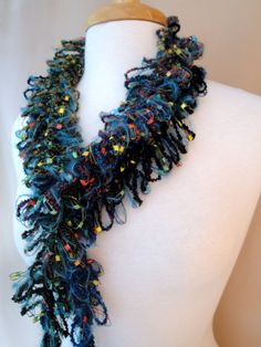 Hairpin Lace Scarf in Teal, Dark Green, Black. $24.00, via Etsy.