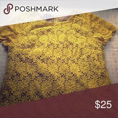 Yellow lace top Perfect for fall talbots lace top! Talbots Tops Blouses