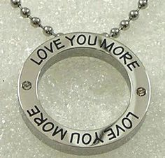 Love You More Necklace Stainless Steel Round Mom Sister Wife Friend Silver CZ #Pendant