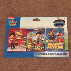 Paw Patrol 3 Pack 8 Count Crayons (Crafts, Drawing, Children's, 2015, 3+, New) #Nickelodeon