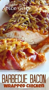 Spice Gals: Barbecue Bacon Wrapped Chicken (use SF bbq sauce to make it LC) Bacon Recipes, Chicken Recipes, Cooking Recipes, Yummy Recipes, Game Recipes, Casserole Recipes, Recipies, Vegan Recipes, Dinner Recipes