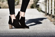 "In love with The ""asymmetric"" booties in black suede ! Www.most-chic.com"