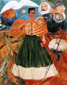 "Marxism will give health to the sick - by Frida Kahlo Frida Kahlo was trying to ""serve the Party"" and ""benefit the Revolution"" by introducing a political view into her work during the last few years of her life. This painting is one of those Frida embraces the Utopian belief that she, and all the other people in this world, can be freed from pain and suffering and saved by the political convictions."