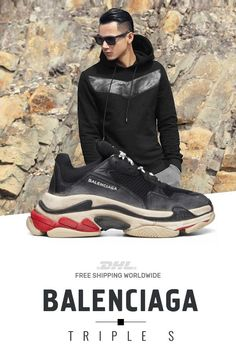 b32b4dca9106 How to get mens size Balenciaga Triple S Trainers Black   Red shoes
