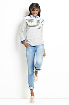 Halogen® Intarsia Sweater & KUT from the Kloth Boyfriend Jeans  available at #Nordstrom
