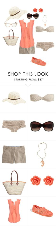 """""""Sweet Summertime"""" by xoxgidgetxox ❤ liked on Polyvore featuring Volcom, J.Crew, Van Peterson 925, Wallis, TOMS and Cutler and Gross"""