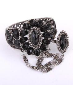 Arras Creations Fashion Trendy Hand Chain/Slave Bracelet/Bracelet & Ring Set for Women / (Black) Arras Crea. Slave Bracelet, Ring Bracelet, Jewelry Bracelets, Bangle, Fashion Sale, Trendy Fashion, Fashion Bracelets, Fashion Jewelry, Hand Chain