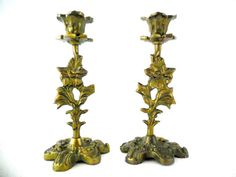 Pair of French Vintage Golden Brass Mini by VintagetoFrance