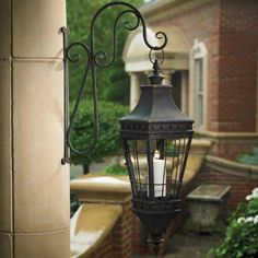 French Country Black Lantern With Wall Bracket