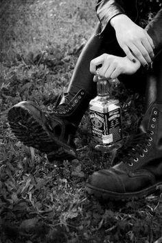 drunk Black and White rock alone black Grunge alcohol Boots punk Alternative goth emo sitting gothic metal jack daniels grass black nails Punk Rock Black Style goth fashion black clothes black jeans black jacket goth style kerzers