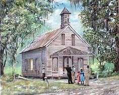Artist rendition of an Old Country Church