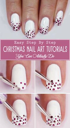 10 Charming Christmas Nail Art Tutorials You'll Adore: Last Minute Christmas Nail Art; 10 Charming Christmas Nail Art Tutorials You'll Adore: Last Minute Christmas Nail Art; Nail Art Diy, Cool Nail Art, Diy Nails, Cute Nails, Manicure Ideas, How To Nail Art, Manicure Pedicure, Pretty Nails, Cute Christmas Nails