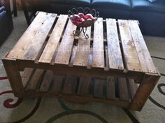 12 DIY Recycled Pallet Tables - Wooden Pallet coffee table.