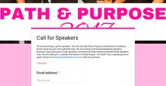 Call for Path & Purpose Speakers https://link.crwd.fr/1aNl