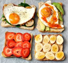 Toast 4 ways: 1. Sauteed muschrooms with dired herbs and garlic   baby spinach leaves   sunny side up egg 2. Sliced avocado   sunny side up egg   sweet chili sauce 3. Nutella   strawberries 4. Peanut butter   banana   maple syrup (or honey)