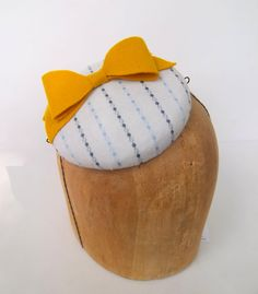 Sunny Button Beret Cocktail Hat With Bow by ChefBizzaro on Etsy, $60.00