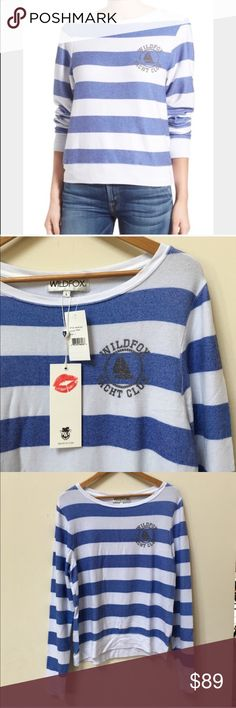 NWT Wildfox Pullover Sweatshirt Striped with white and blue me with front signature. No trades. Generous 30% bundle discount. Wildfox Tops Sweatshirts & Hoodies