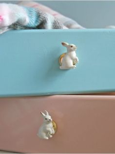 Ceramic Rabbit Knobs are adorable! Could DIY these using children's plastic toys spray painted and screwed to a plain wooden knob.