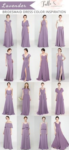 Mixing and matching chiffon tulle bridesmaid dresses online for spring summer wedding color ideas Beach Wedding Bridesmaid Dresses, Mismatched Bridesmaid Dresses, Designer Bridesmaid Dresses, Bridesmaid Dresses Online, Bridesmaid Dress Colors, Purple Dress Wedding, Wisteria Bridesmaid Dresses, Inexpensive Bridesmaid Dresses, Junior Bridesmaids