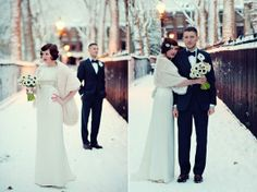 1920s Inspired London Winter Wedding...i love the hair, the shawl, the anemones, the snow, the hairpiece, everything...