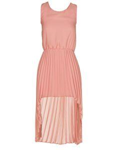 Coral Pleat Skirt Chiffon High Low Dress $ 23.96 #chiarafashion