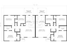 Duplex country style house plans 2514 square foot home Ranch style duplex plans