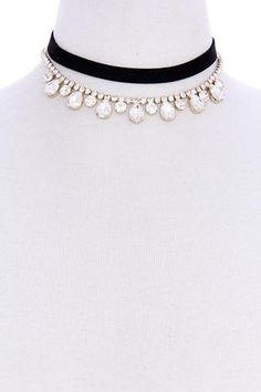 Andrea Black Ribbon Choker Necklace with Crystal Pendants