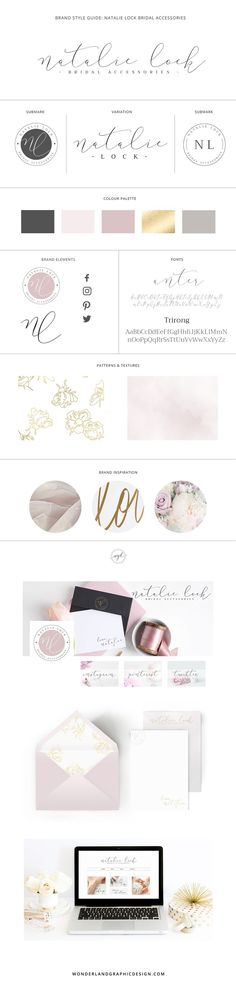 Branding design final brand style board for wedding business, bridal boutique Natalie Lock bridal accessories. From brand inspiration to web design for the bridal store, social media branding and samp