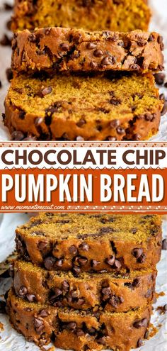 This sweet breakfast idea is sure to be a hit! No mixer is required for this fall baking recipe. Bursting with flavor and loaded with chocolate chips, this moist homemade pumpkin bread is the BEST. Variations included! Chocolate Chip Loaf Recipe, Homemade Chocolate Chips, Pumpkin Chocolate Chip Bread, Pumpkin Butter, Semi Sweet Chocolate Chips, Pumpkin Bread, Sweet Pumpkin Recipes, Pumpkin Puree Recipes, Homemade Pumpkin Pie