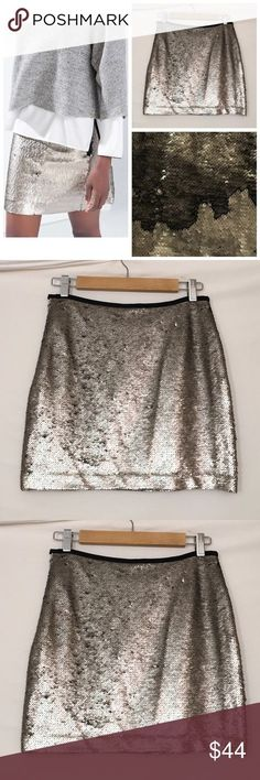 🆕 ZARA BASIC directional shell sequin mini skirt New, unworn condition; partial tag attached. Skirt is free of flaws or defects; however, due to color change directionality, some sequins do have issues following direction; please see close up. Color shifts with a brush of the hand; what makes this fabulous may not pair well with the OCD, so please note these will shift while wearing. 😉  Polyester. Exposed metal side zip closure. Fully lined. Waist 28 Length15.5 Zara Skirts Mini