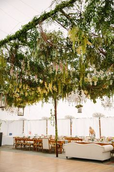 Get inspired by these wedding tent design elements, including chandeliers, hanging flowers and more. Wedding Ceiling, Marquee Wedding, Wedding Centerpieces, Wedding Decorations, Table Centerpieces, Buttermilk Falls, Saint Emilion, Tent Design, Garden Canopy