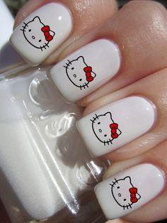Latest Nail Designs, Red Nail Designs, Hello Kitty Nails, Hello Kitty Items, Cat Nails, Aycrlic Nails, Bling Nails, Really Cute Nails, Pretty Nails