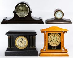Lot 194: Mantel Clock Assortment; Four items including a Sessions Clock Co. painted wood eight day clock with pendulum, a mahogany New Haven Clock Co. chiming clock with pendulum, a mahogany Ansonia eight day wind up clock and an oak Ingraham eight day clock with key and pendulum