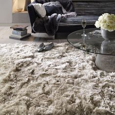 Plush Shaggy Rugs in Sand - Free UK Delivery - The Rug Seller