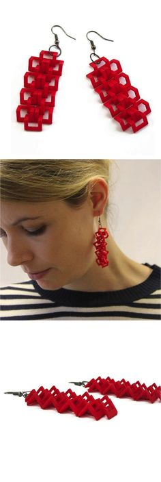 Thirteen link earrings made from 3D printing in a color of your choice.   Made on Hatch.co