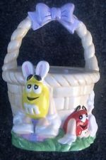 NEW AWESOME M&M CHARACTER CERAMIC EASTER BASKET