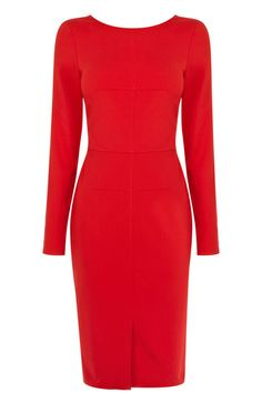 This slinky pencil dress features stitching detail across the fabric for a streamlined shape. The piece features a high crew neckline and long sleeve styling. The dress is finished with a contrasting v shape at the nape of the neck for a sophisticated finish.