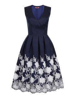 **Chi Chi Navy V Neck Skater Dress - Dorothy Perkins